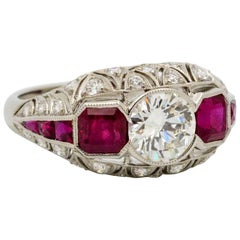 Custom Art Deco Platinum, Diamond and Ruby Engagement Ring