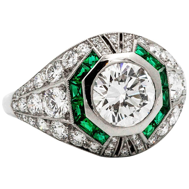 1.58 Carat Round Diamond Emerald Halo Engagement Platinum Ring For Sale