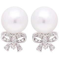Ella Gafter White South Sea Pearl and Diamond White Gold Bow Clip Earrings