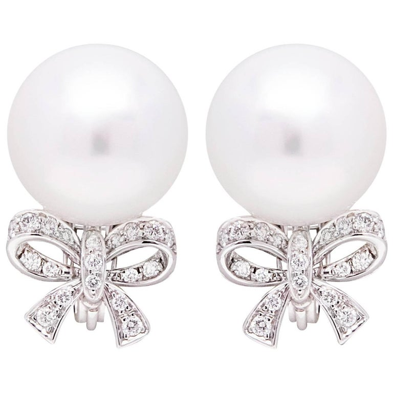 Ella Gafter White South Sea Pearl and Diamond White Gold Bow Clip Earrings 1
