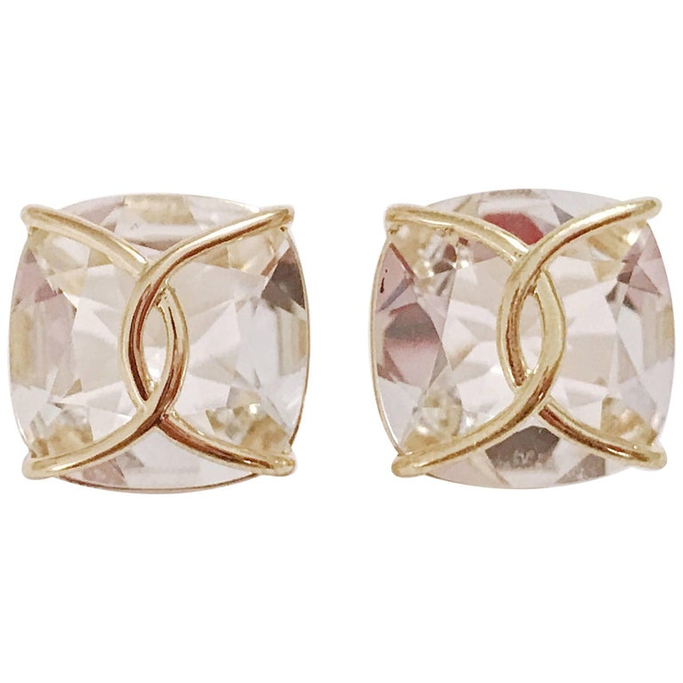 Rock Crystal Cushion Stud Earring with Yellow Gold Wire Wrap