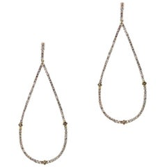 White Diamond and Champagne Diamond Teardrop Earrings