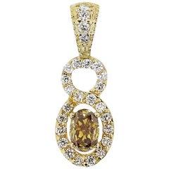Oval Champagne Diamond Pendant