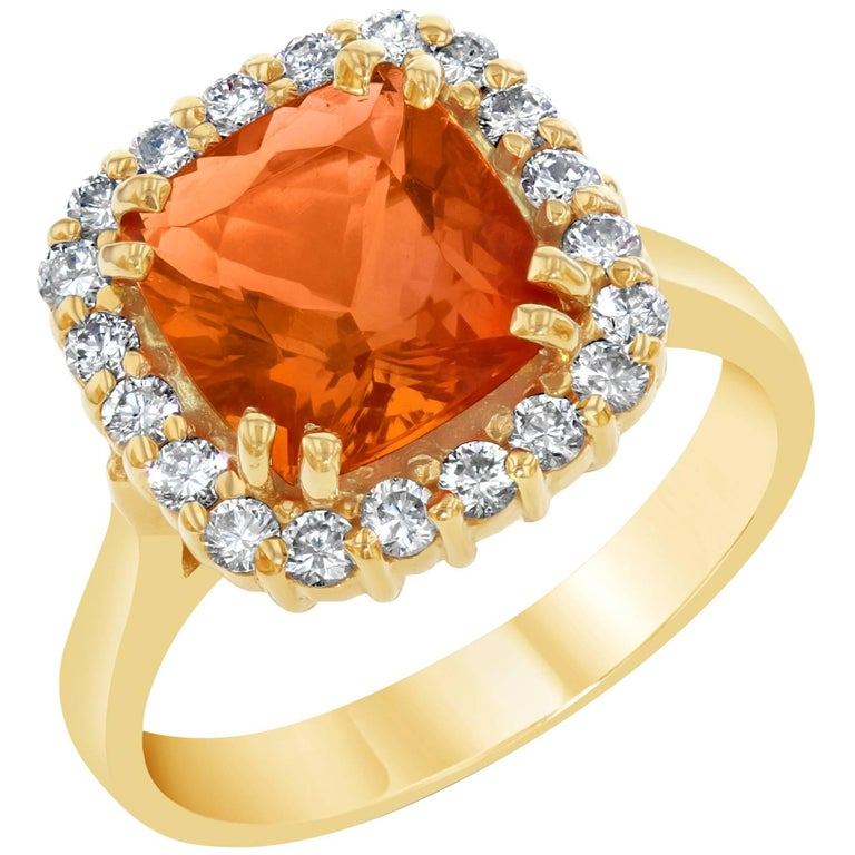 2.48 Carat Fire Opal Diamond Cocktail Ring For Sale