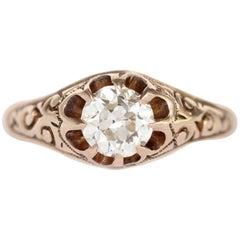 GIA Certified 0.62 Carat Diamond Rose Gold Engagement Ring
