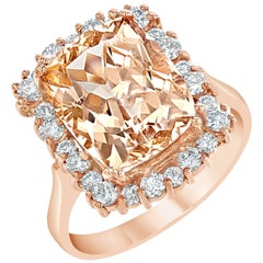 6.64 Carat Morganite Diamond Cocktail Rose Gold Ring