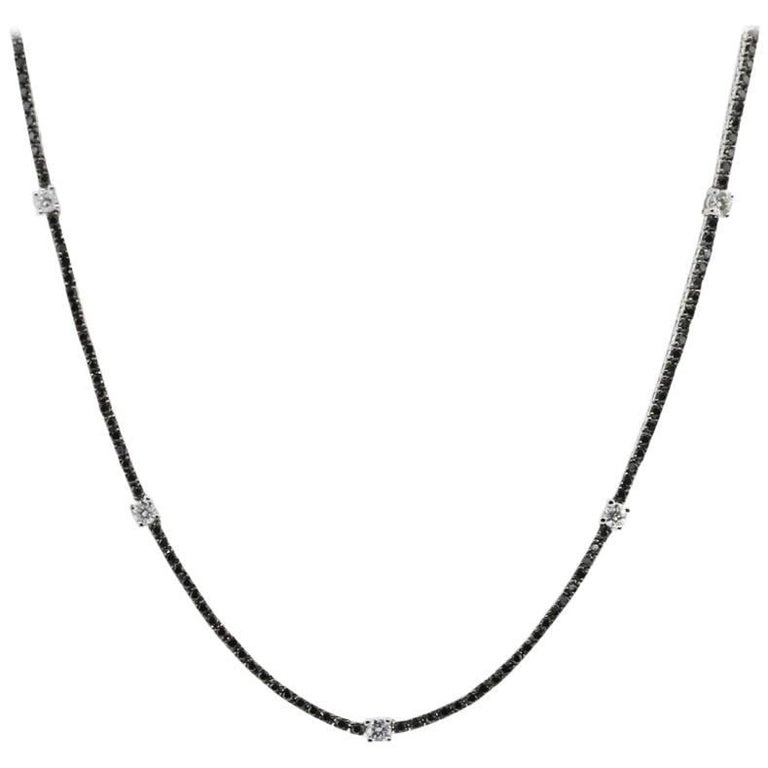 Black Diamond and White Diamond Station Necklace