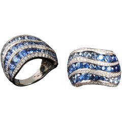 Sapphire and Diamond Cocktail Ringcrafted in Platinum