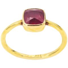 Rose-Pink Square Spinel and Yellow Gold Ring