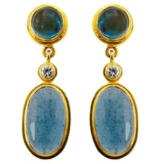 Moss Aquamarine and Blue Tourmaline Drop Earrings in Yellow Gold with Diamonds
