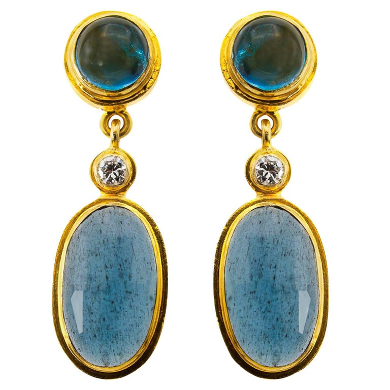Moss Aquamarine and Blue Tourmaline Drop Earrings in Yellow Gold with Diamonds For Sale