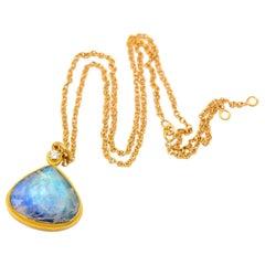 Large Rainbow Moonstone and Diamond Tear Drop Pendant in Gold