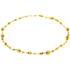 Gold Bead Necklace in Various Shapes and Geometrical Designs
