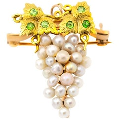 Grape Pin Brooch in Gold with Demantoid Green Garnet and Fresh Water Pearls