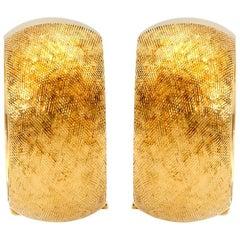 Gold Clip-On Textured Hoop Earrings