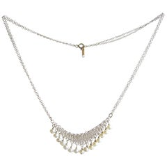 Allison Stern Pearl Sterling Silver Chain Maille Necklace