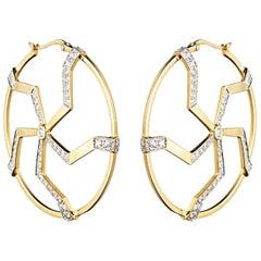 Kara Ross Diamond and Yellow Gold Hoop Earrings