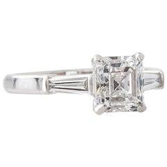 Handmade 1.50 Carat GIA Certified Emerald Cut Diamond and Platinum Ring