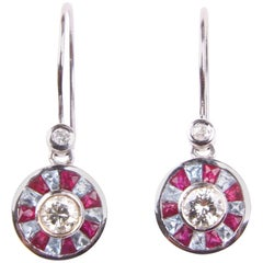 Diamond Acquamarine and Ruby Earrings