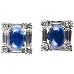 Square Shaped Sapphire and Diamonds Earrings