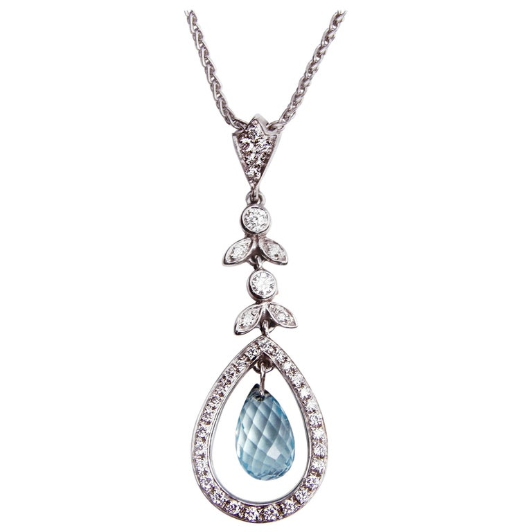 Mappin & Webb 18 Carat Gold Diamond and Aquamarine Pendant and Earrings Set