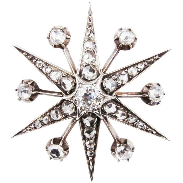 Antique Victorian Gold Diamond Star Brooch