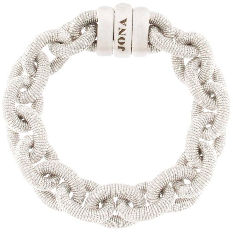 Jona Sterling Silver Link Chain Bracelet For Sale