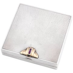 Tiffany & Co. American Art Deco Silver Gem Set Cigarette Case