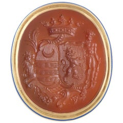 1750s French Carnelian Gold Family Crest Intaglio Ring