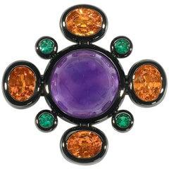 Amethyst, Mandarine Garnet and Emerald Brooch/Pendant
