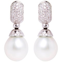 Ella Gafter White South Sea Pearl and Diamond White Gold Drop Earrings
