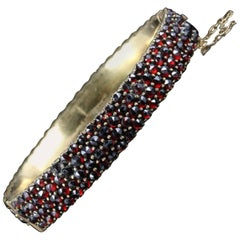 Antique Victorian Garnet Bangle, circa 1880 Bohemian Garnets