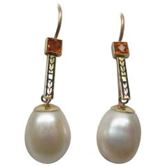 Art Deco Gold Enamel Citrine Pearl Drop Earrings