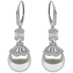 Yoko London South Sea Pearl Earrings in White Gold with White Diamonds