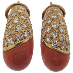 Coral Diamond Gold Half Hoop Earrings