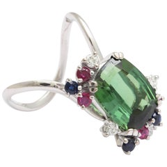 H Stern Green Tourmaline and Precious Stone Modernist Ring