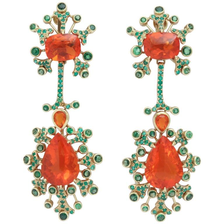 Marilyn Cooperman Fire Opal and Tsavorite Drop Earrings For Sale