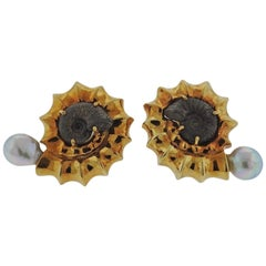 Elizabeth Gage Pearl Fossil Gold Earrings