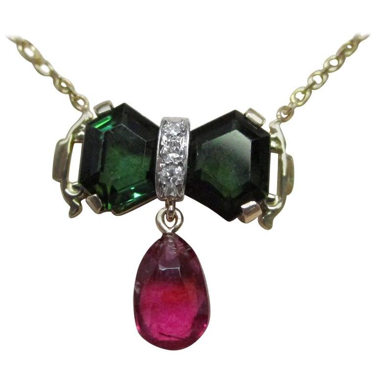 Gold Green Tourmaline Rubelite Tourmaline Diamond Necklace