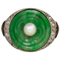 Sasportas Art Deco Jade and Pearl Ring with Diamond and Enamel Accents