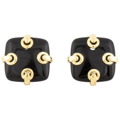 14 Karat Square Onyx Earrings