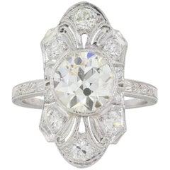 Edwardian 2.36 Carat Old European Cut Diamond Ring