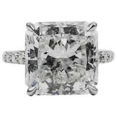 GIA Certified F 10.05 Carat J. Birnbach Radiant Cut Diamond Platinum Pave Ring