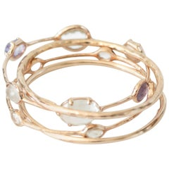 Ippolita Rose Amethyst, Quartz and 18K Gold Bangle Bracelet Set