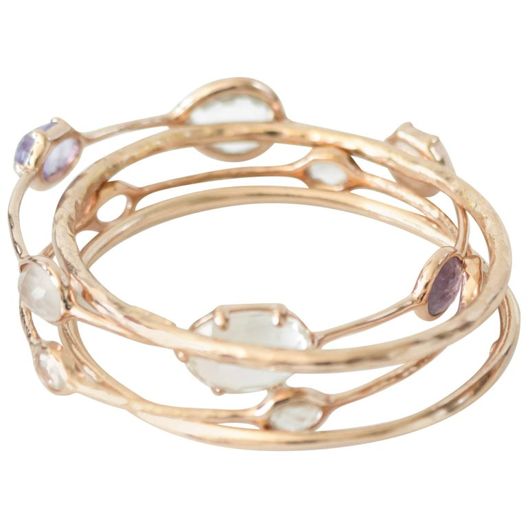 Ippolita Rose Amethyst Quartz And 18k Gold Bangle Bracelet Set For