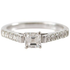 GIA Report Certified 0.56 Carat Diamond White Gold Engagement Ring