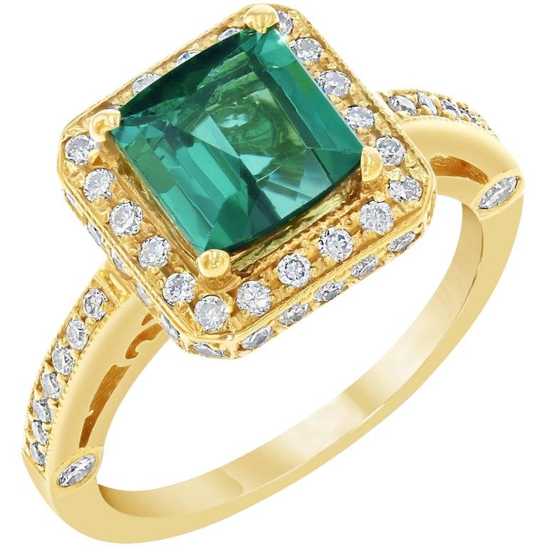 2.60 Carat Tourmaline Diamond Yellow Gold Cocktail Ring
