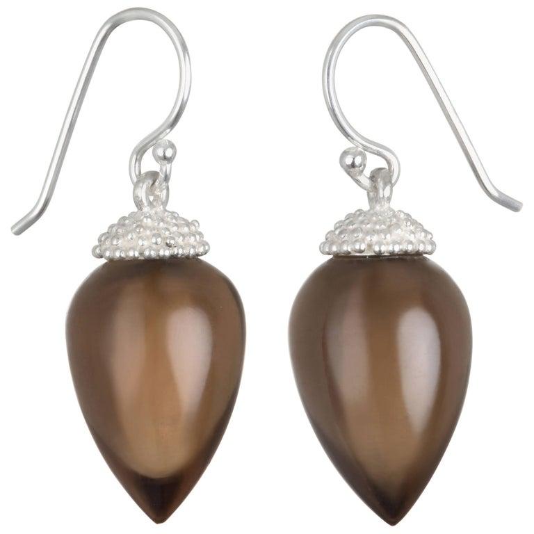 Faye Kim Sterling Silver Smoky Quartz Earring For