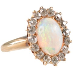 1890s Victorian Antique 4 Carat Opal, Diamond and 18K Gold Ring