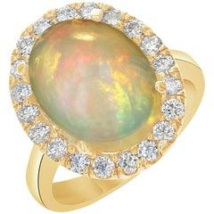 5.96 Carat Opal Diamond Yellow Gold Ring